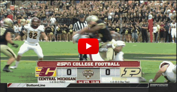 WATCH: Central Michigan punter shows why kickers shouldn't tackle