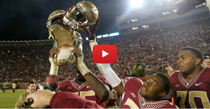 FSU players parade Gator head around Doak Campbell Stadium