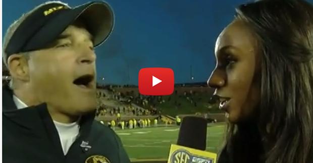 Gary Pinkel laughs when reporter tells him Florida beat Georgia
