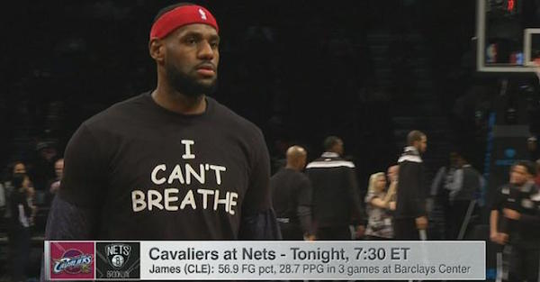 LeBron James, other NBA stars wear 'I Can't Breathe' shirt ahead of Cavaliers-Nets matchup