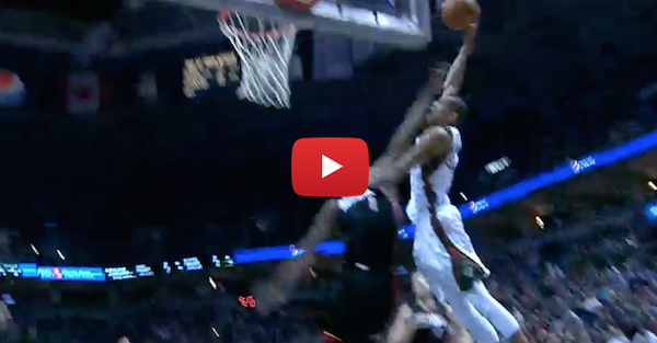Giannis Antetokounmpo posterizes Chris Bosh with nasty dunk