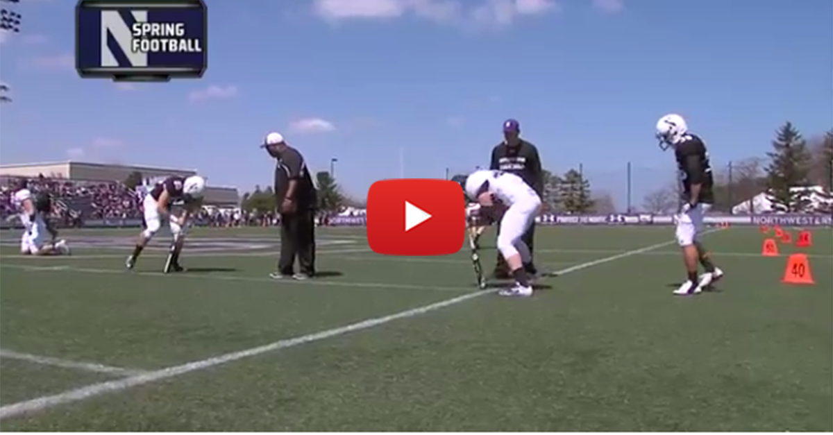 Northwestern holds hilarious 'dizzy bat' relay race at spring practice