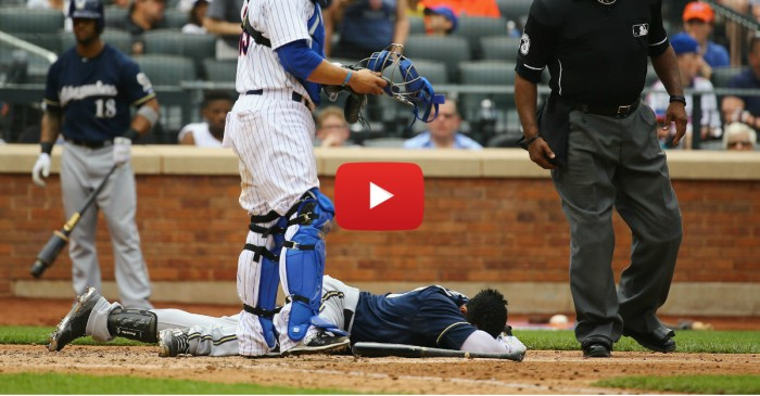 Brewers OF Carlos Gomez leaves game after getting drilled in the head with 97 mph fastball