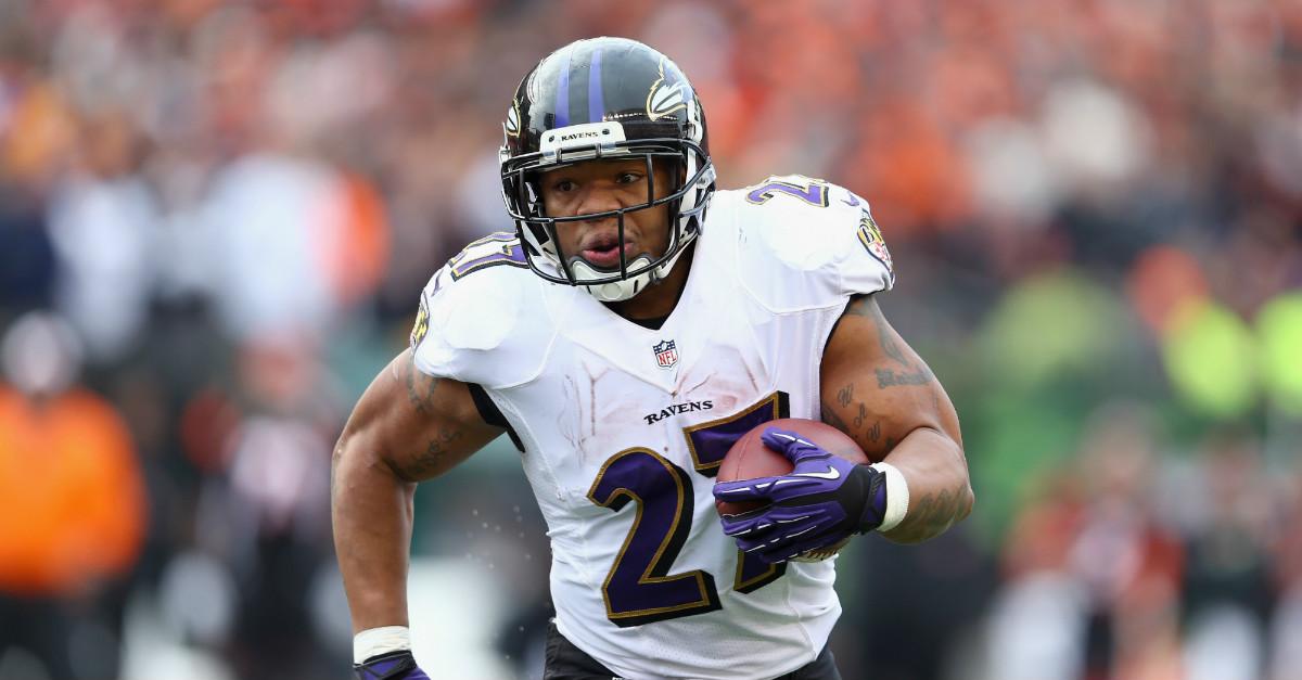 Former Baltimore Ravens RB Ray Rice speaks to FSU football team