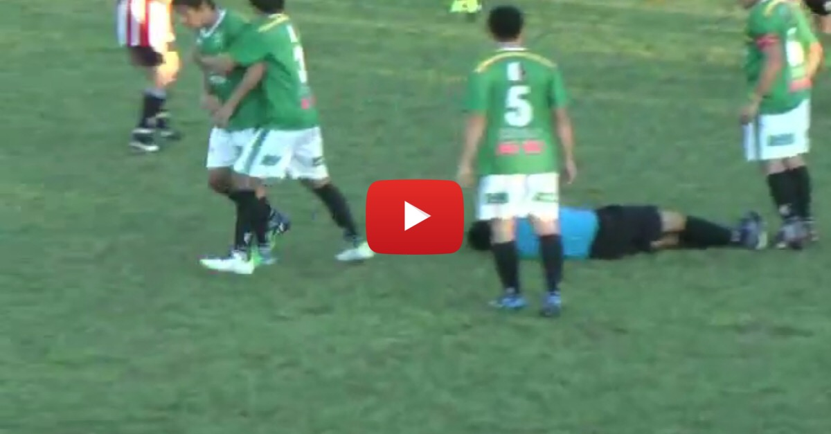 Soccer player receives a yellow card, KO's referee with vicious left hook