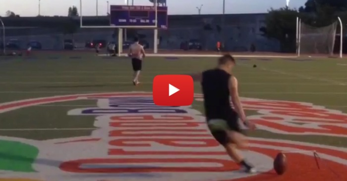 Alabama commit chips in ridiculously long field goal