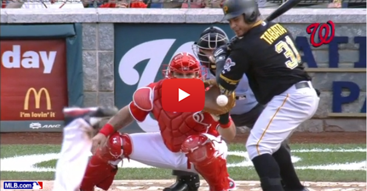 Pirates hitter dips elbow to get hit by pitch to break up Scherzer's perfect game on final out