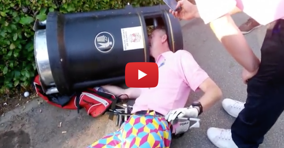 Drunk Golfer in Goofy Pants Gets Head Stuck in a Trash Can