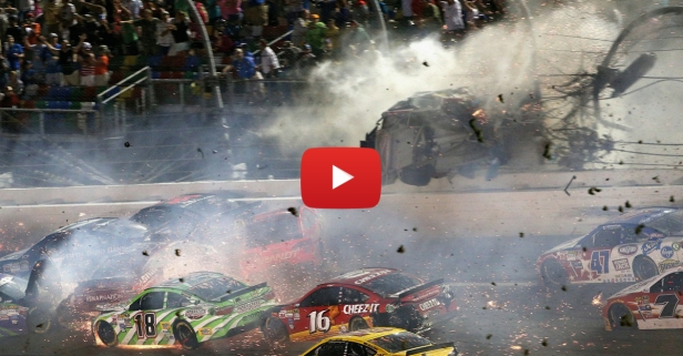 Terrifying wreck occurs on last lap at Daytona. Fans hurt, driver miraculously walks away.