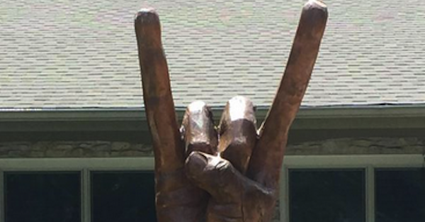 Diehard Texas fan illustrates passion through Hook 'Em tree carving