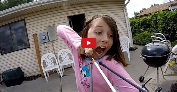 Young Girl Uses a Slingbow to Pull Out Her Tooth