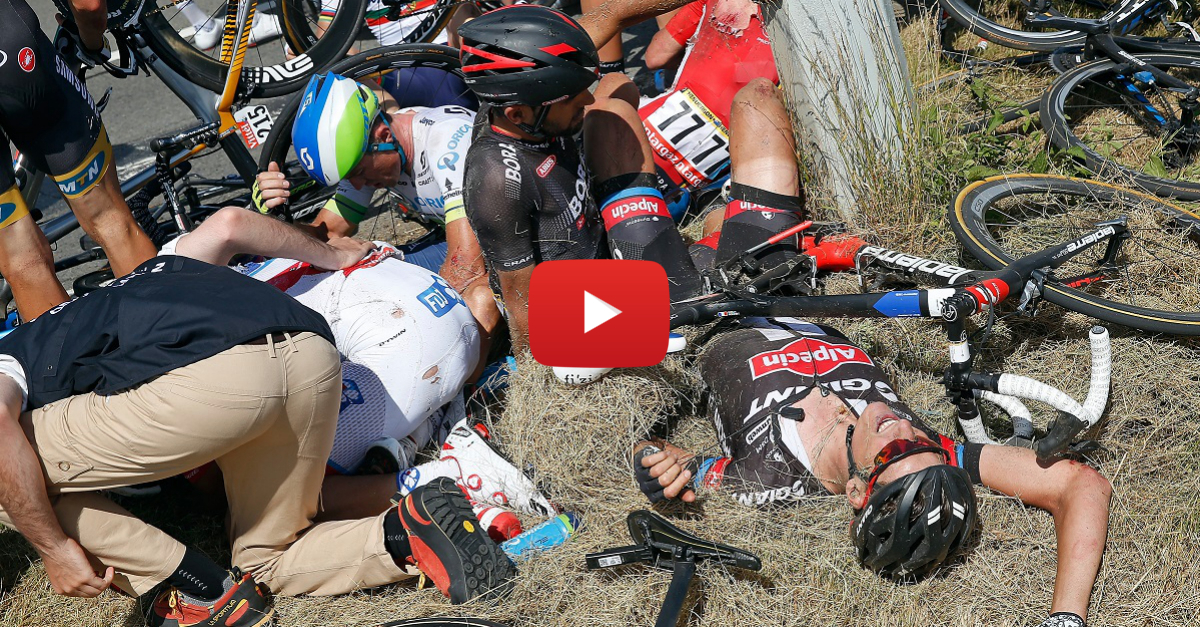 Bloody Tour de France crash brings entire race to a halt