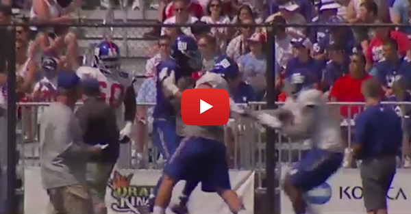 Think Dez Bryant's training camp fight was wild? Wait until you see these Giants linemen throw down