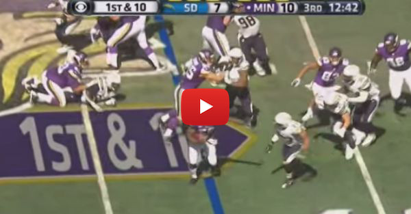 Adrian Peterson activates beast mode against the Chargers