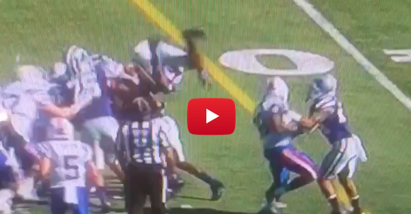 Kansas State player tries to get in on pile up, horribly fails