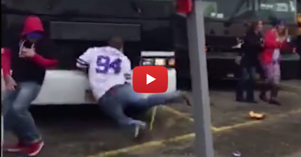 Buffalo Bills fan gets a bit too hammered, gets knocked out by parked bus