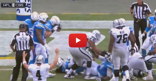 Chargers defensive end donkey kicks opponent in the stomach and nothing happens