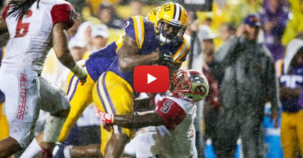 Watch Leonard Fournette dance in the rain and LSU cheerleaders enjoy a sideline slip-n-slide