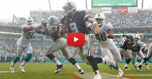 Watch Tony Romo complete a crafty left-handed shovel pass against the Dolphins
