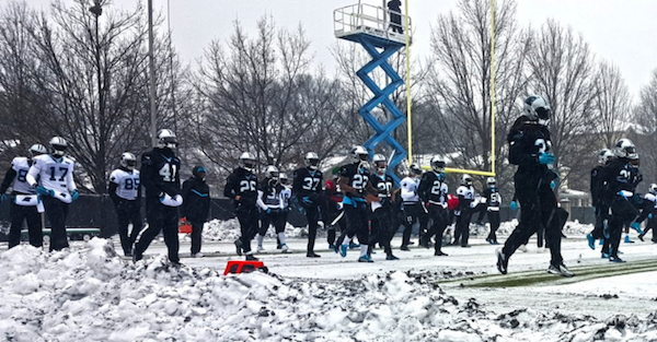 The Carolina Panthers practiced in snowy, wintry conditions on Friday