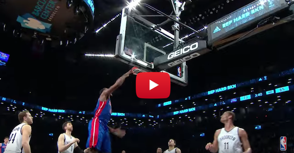 Brandon Jennings goes backboard to Andre Drummond for the lob