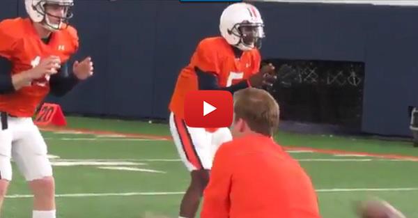 Watch: Auburn quarterbacks square off in drills in spring practices