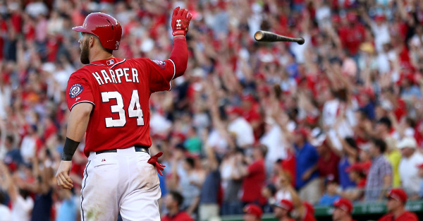 A day after a rookie hit the longest HR of the year, Bryce Harper reminded us all who's boss