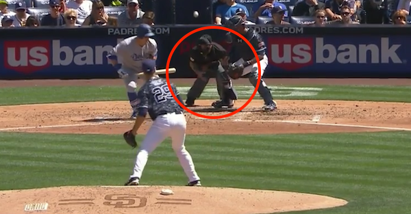 A foul bunt took an unfortunate bounce below the belt, and this umpire had to leave the game