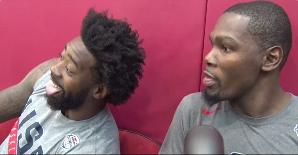 DeAndre Jordan interrupts Durant's interview so he can ask the dumbest question ever