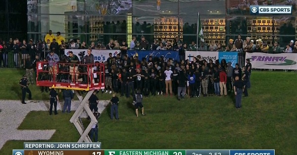 Protesters nearly took the field during Eastern Michigan's game on Friday