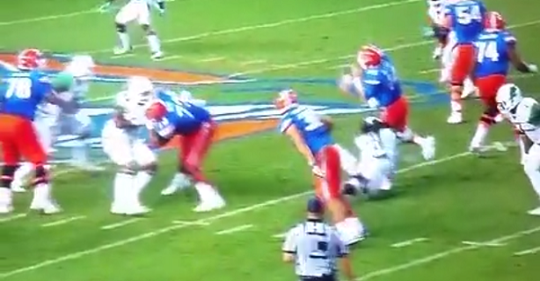 Florida QB Luke Del Rio knocked out of the game on dirty hit and OL gets ejected