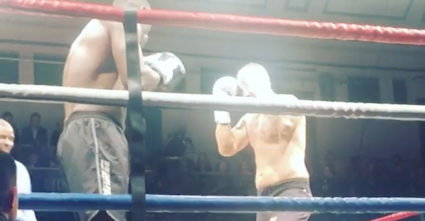 Watch actor Idris Elba try his hand at a professional kickboxing match