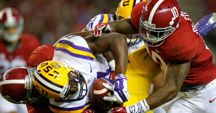LSU running back takes confusing shot at Alabama defense, is immediately torched by Ryan Anderson, twitter