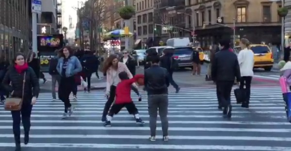 Kid dribbling a ball in NY crossed this poor woman into oblivion