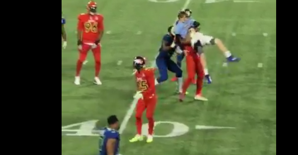 Ezekiel Elliott had the best tackle of the night when he took down an idiot who stormed the field