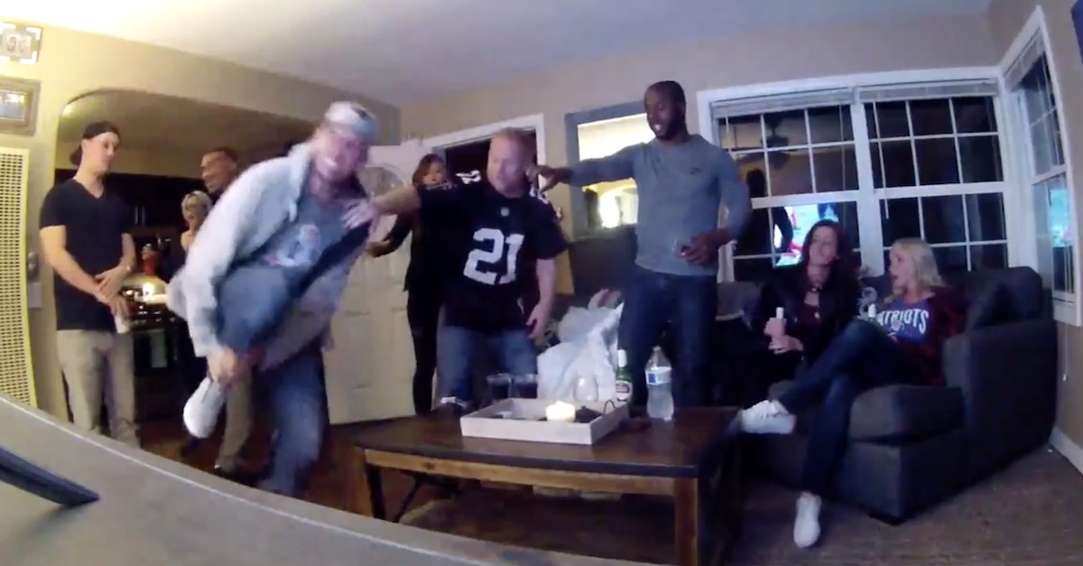 A pumped up Patriots fan broke his leg celebrating a TD and stunned his friends into awkward silence