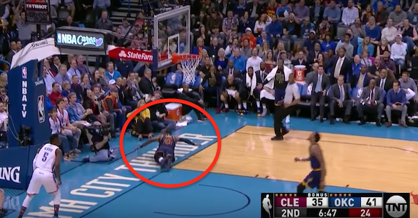 LeBron James missed a dunk and flopped like he got tackled on the same play