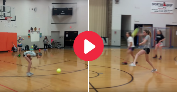 Softball Pitcher Fires Dodgeballs at Helpless Gym Class Opponents