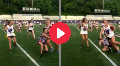 Girl Viciously Trucks Defender in Powderpuff Football Game
