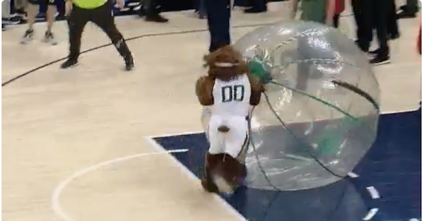 Jerk adult pushed a kid and an NBA mascot got sweet, sweet revenge