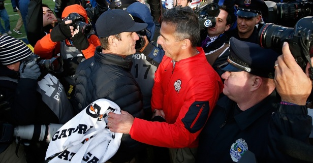 "Jim Harbaugh ""glad"" Michigan lost to Ohio State in last year's thriller"