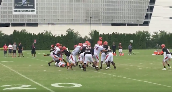 The dirtiest player in the NFL got into a training camp skirmish for an ugly hit on his teammate