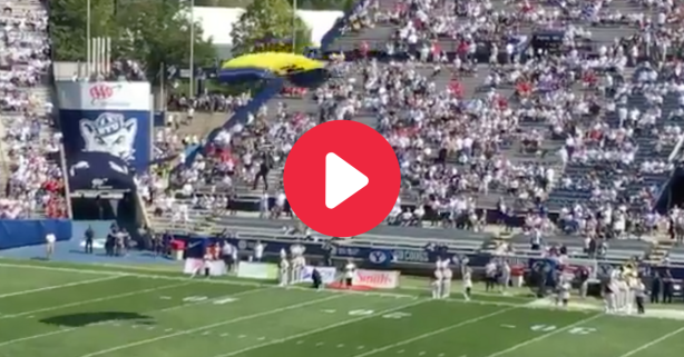 Parachuter Crashes Into Wall During Botched Stadium Entrance