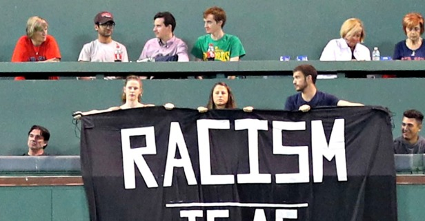 Red Sox remove a racism banner that was draped over the fabled Green Monster