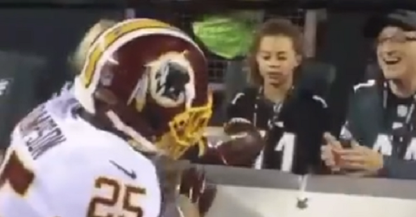 Redskins player tried to give a touchdown ball to a young Eagles fan, giving us the best loyalty video of the year
