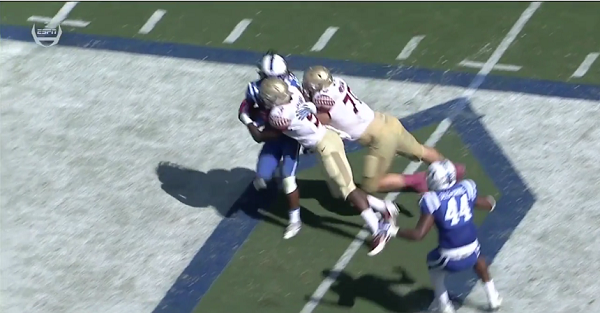 Florida State running back Jacques Patrick might have gotten away with a targeting hit against Duke