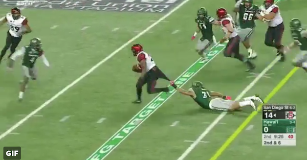 San Diego State RB literally drags his defender on crazy run