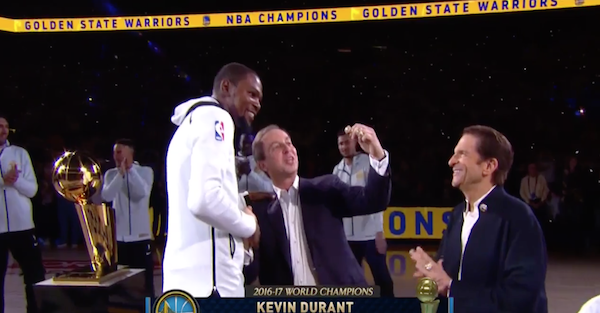Watch as Kevin Durant finally gets his NBA Championship ring