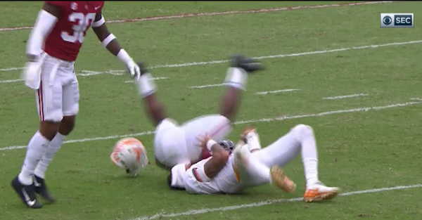Tennessee QB got absolutely leveled with a helmet-popping hit to end the half