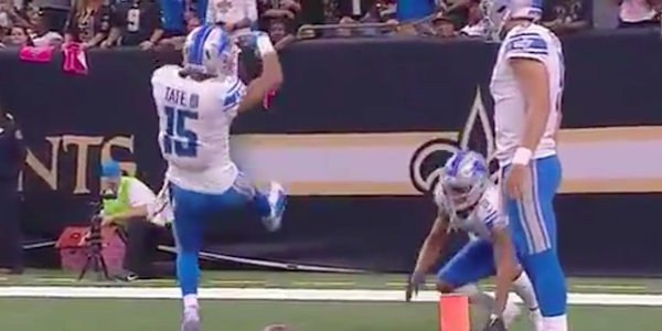 NFL wide receiver channels The Rock for touchdown celebration